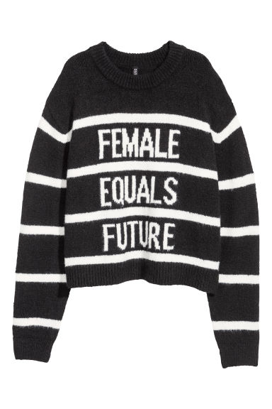 Knitted jumper - Black/Striped - Ladies | H&M