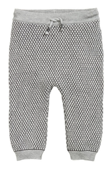 Textured-knit trousers - Grey - Kids | H&M CN