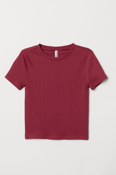 Ribbed top - Raspberry red -  | H&M