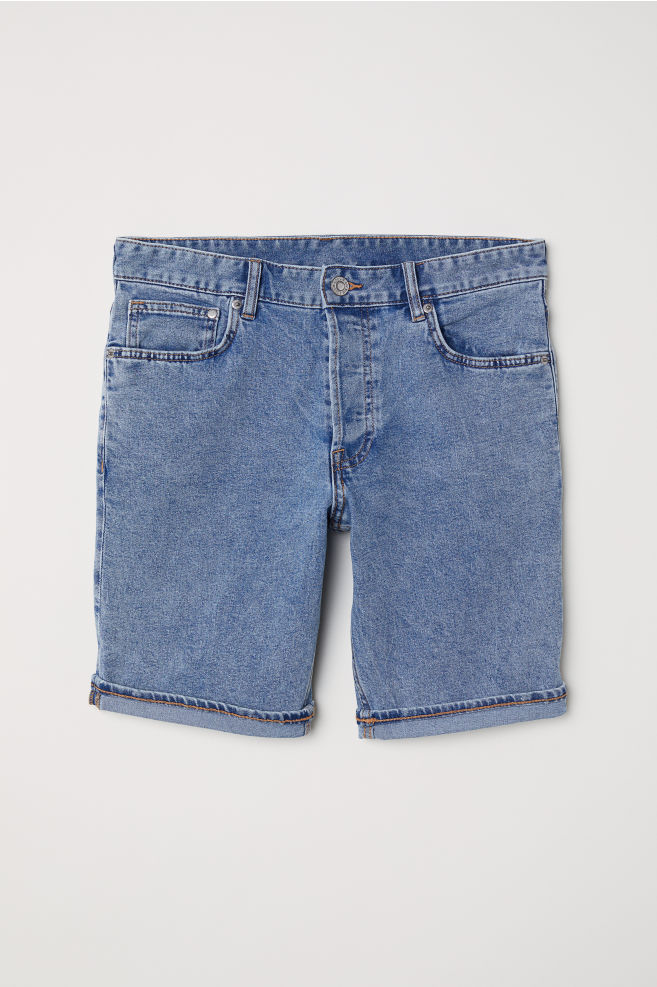 Denim Shorts Slim fit - Denim blue - Men  adaeac2b2c5b