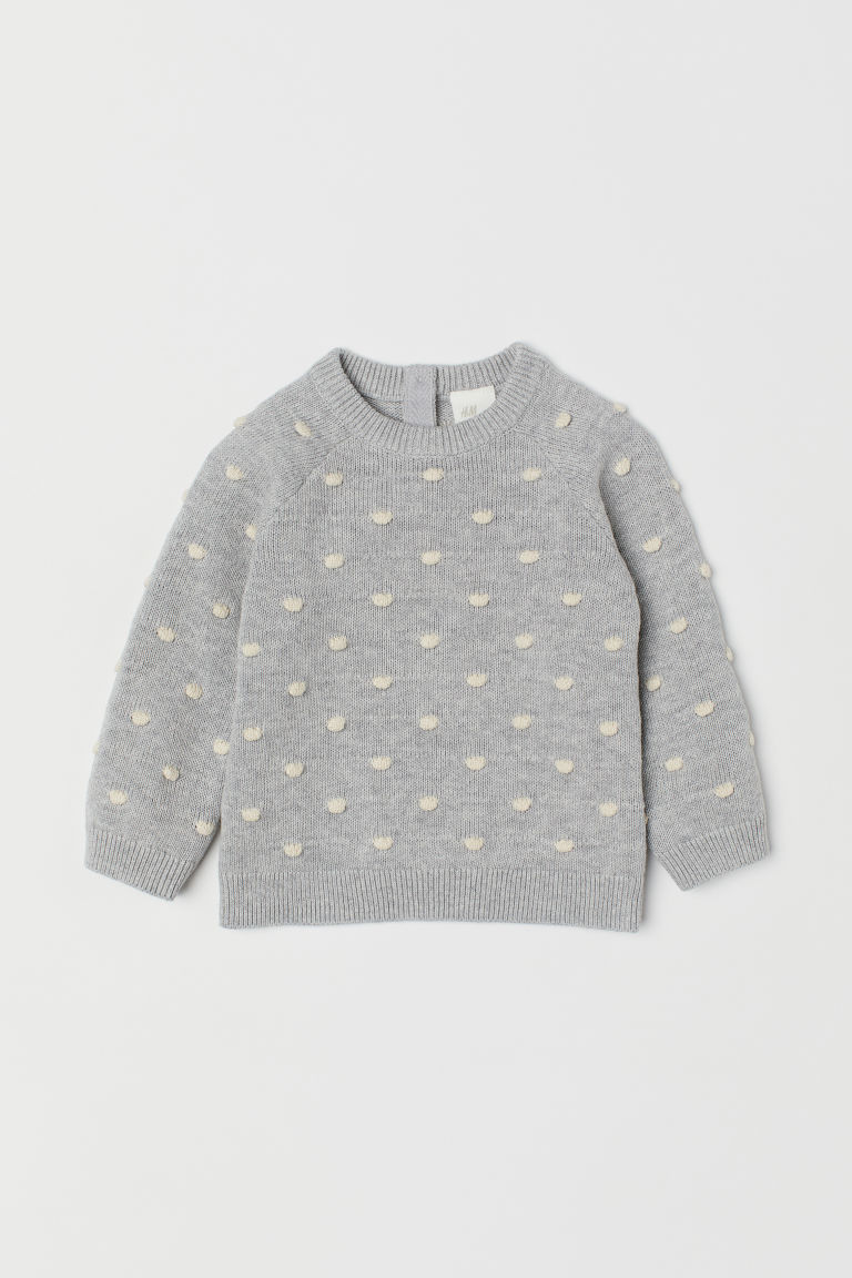 Fine-knit textured jumper - Light grey marl/White spotted -  | H&M CN