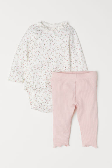 Bodysuit and leggings - White/Floral - Kids | H&M