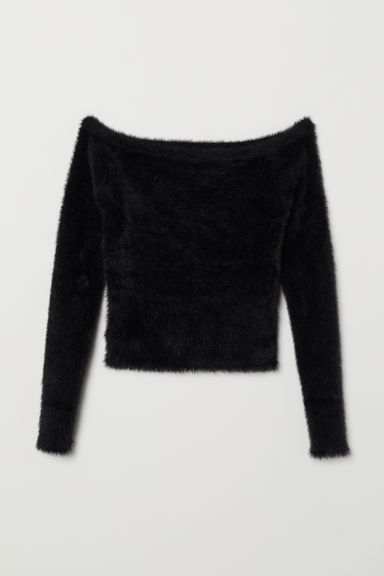 Off-the-shoulder jumper - Black - Ladies | H&M