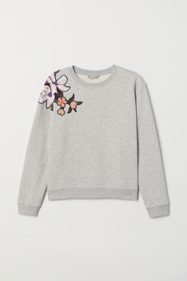 H&M+ Sweatshirt with motifs - Light grey marl - Ladies | H&M CN