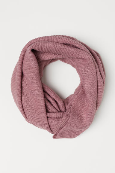 Knitted tube scarf - Dark old rose -  | H&M CN
