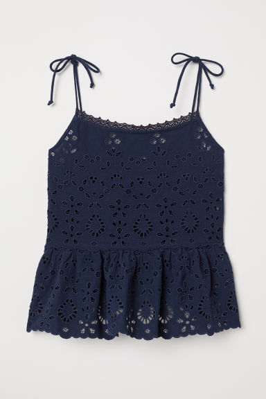 Embroidered peplum top - Dark blue - Ladies | H&M