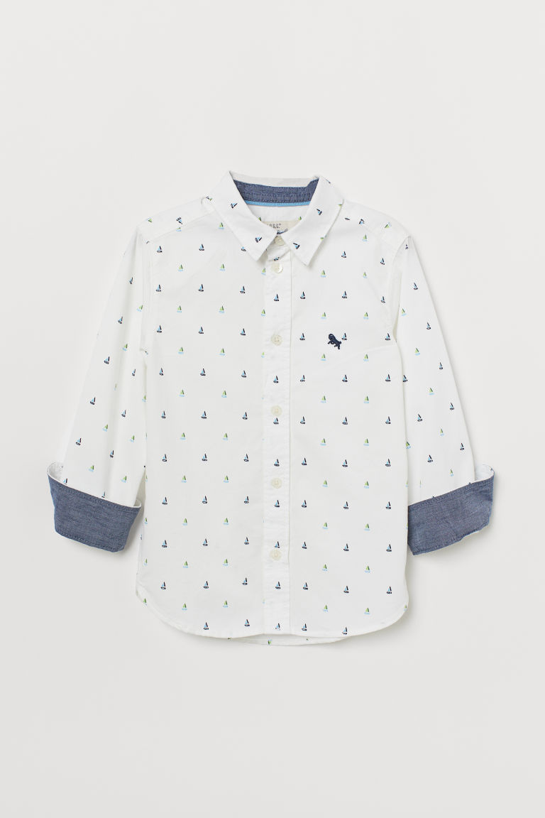 Cotton Shirt - White/boats - Kids | H&M US