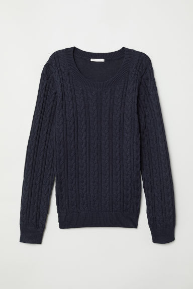Cable-knit Sweater - Dark blue -  | H&M US