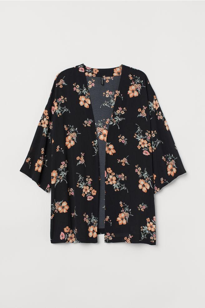 d0f3cf88 ... H&M+ Mønstret kimono - Sort/Blomstret - DAME | H&M ...
