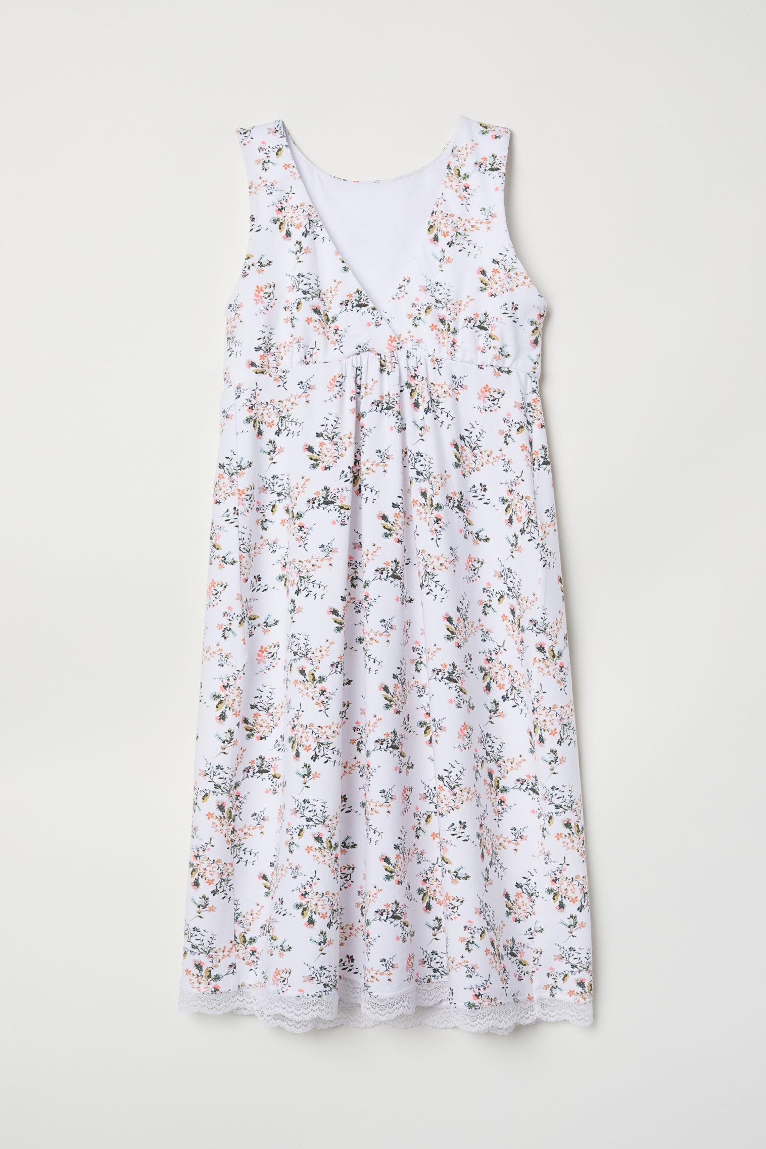 74299a92a7c2b MAMA Nursing Nightgown - White/floral - Ladies | H&M US