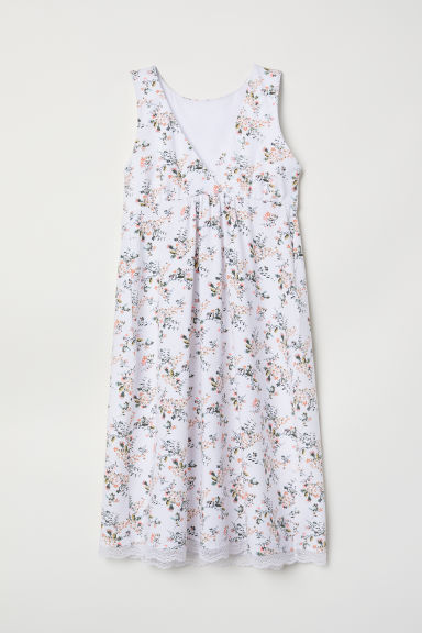 MAMA Nursing nightdress - White/Floral - Ladies | H&M