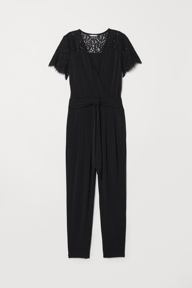 145be2472310 Jumpsuit with Lace Yoke - Black - Ladies