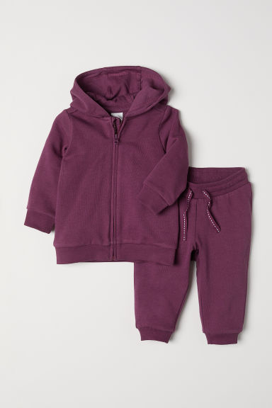 Hooded jacket and joggers - Plum - Kids | H&M IN