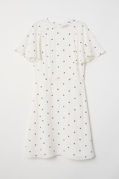 Flounce-sleeved dress - Cream/Spotted - Ladies | H&M