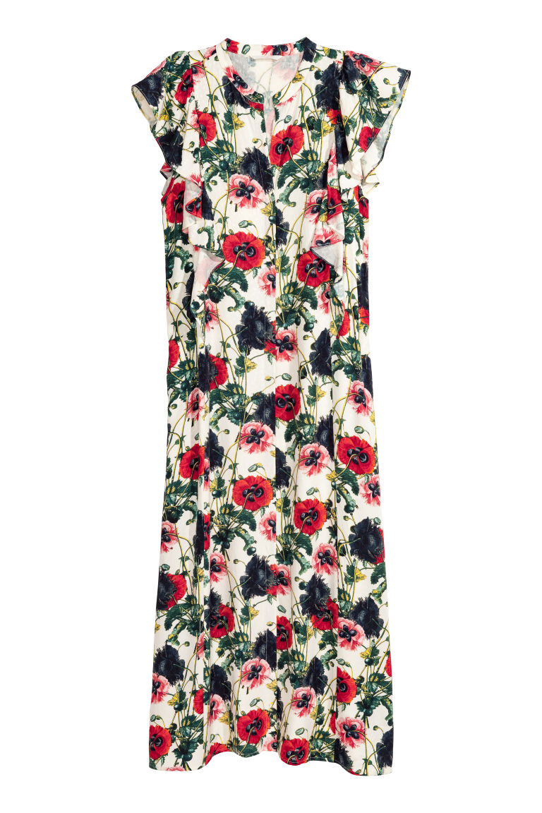 Patterned Dress - Natural white/floral - Ladies | H&M CA