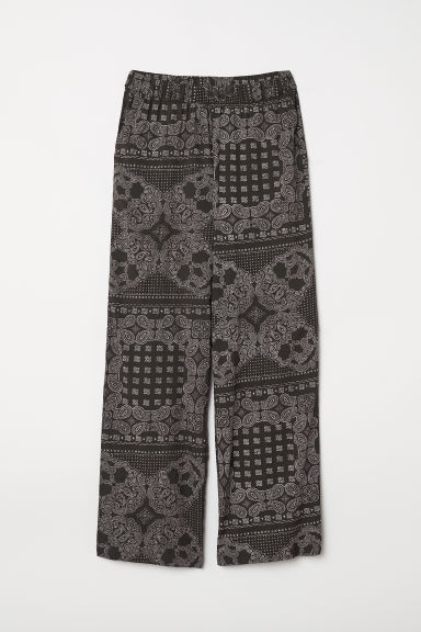 Wide pull-on trousers - Dark grey/Paisley-patterned -  | H&M
