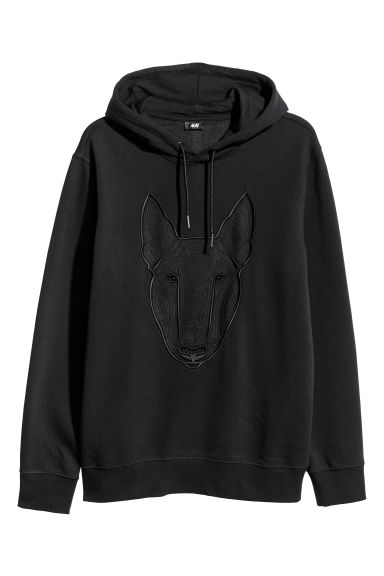 Hooded top with embroidery - Black - Men | H&M CN