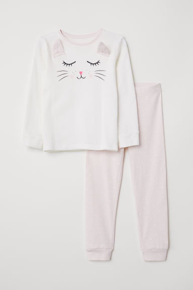 Jersey pyjamas - Natural white/Cat - Kids | H&M CN
