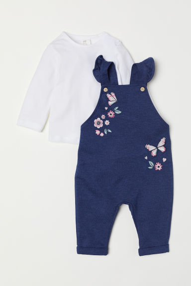 Dungarees and top - White/Dark blue - Kids | H&M