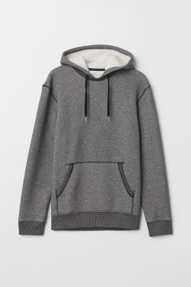 Hooded top with pile - Black marl - Men | H&M