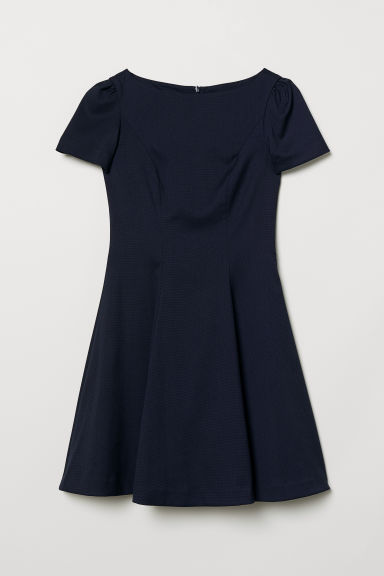 Puff-sleeved dress - Dark blue - Ladies | H&M