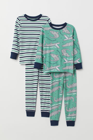 2-pack pyjamas - Green/Alligators - Kids | H&M