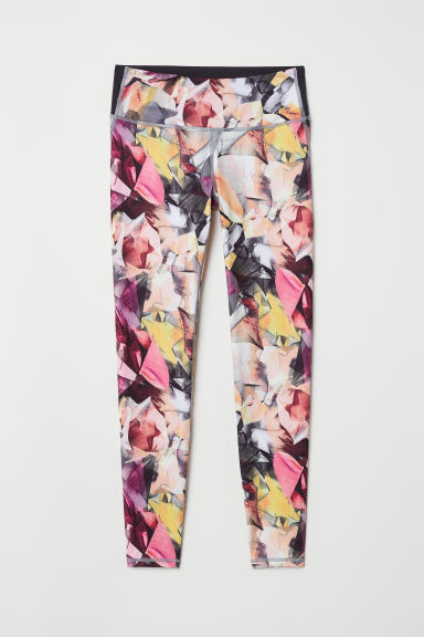 Yoga tights Shaping Waist - Pink/Patterned -  | H&M IE