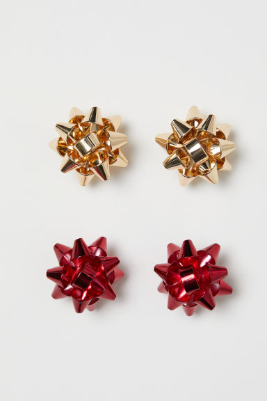 2 pairs stud earrings - Gold-coloured/Red - Ladies | H&M