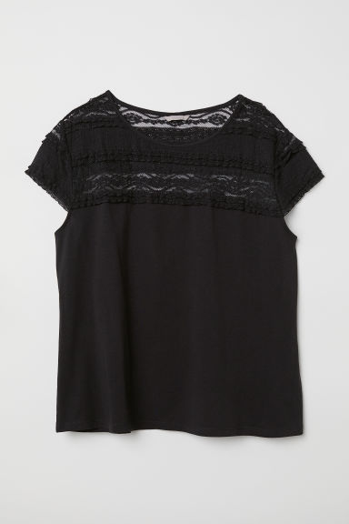 H&M+ Top with a lace yoke - Black - Ladies | H&M