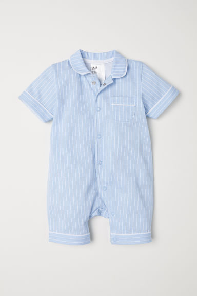 Cotton all-in-one pyjamas - Light blue/White striped -  | H&M CN