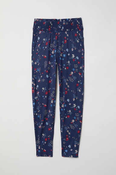 MAMA Jersey trousers - Dark blue/Floral - Ladies | H&M