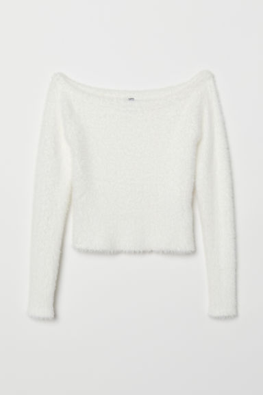 Off-the-shoulder jumper - White - Ladies | H&M