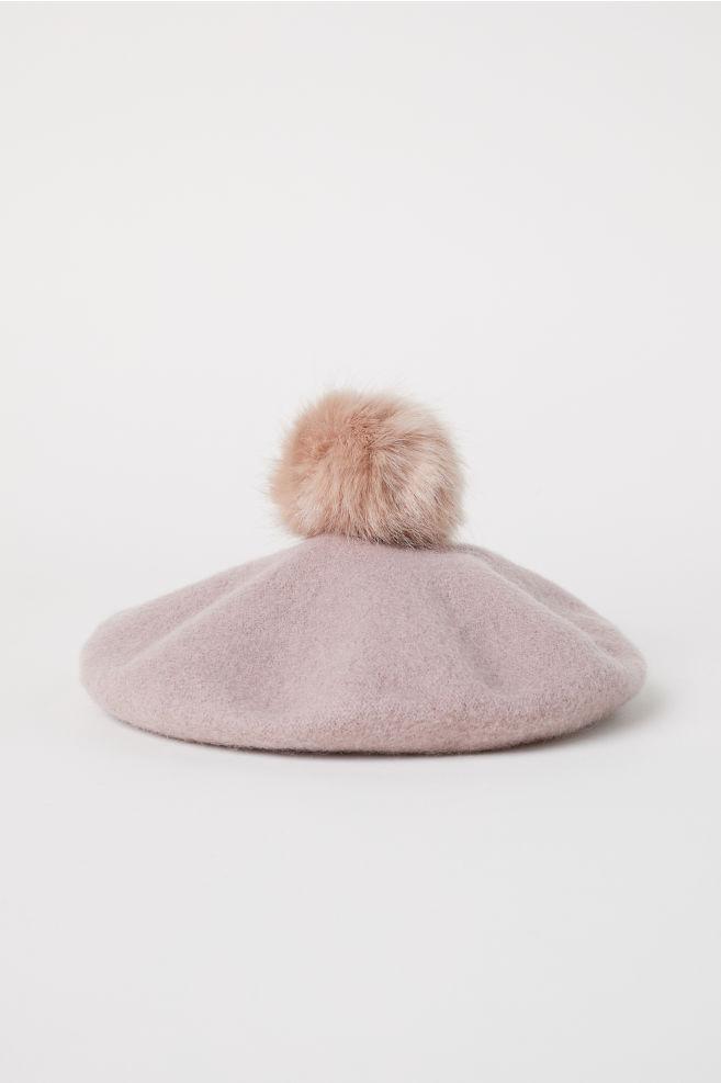 d872ec9386b42 Wool-blend beret - Powder pink - Ladies