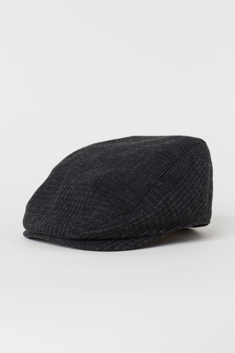 Wool-blend flat cap - Dark grey/Checked - Men | H&M