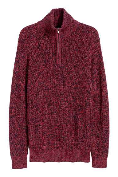 Ribbed jumper - Red/Blue marl -  | H&M GB