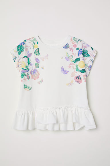 Short-sleeved flounced top - White/Floral -  | H&M