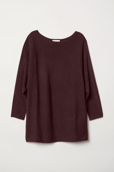 Rib-knit jumper - Burgundy marl - Ladies | H&M