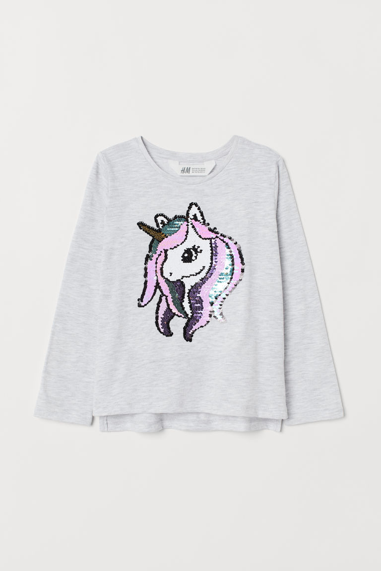 Appliquéd jersey top - Light grey marl/Sequins - Kids | H&M IE