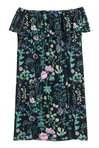 Off-the-shoulder dress - Dark blue/Botanical - Kids | H&M