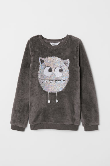 Pile top with a motif - Dark grey/Monster - Kids | H&M