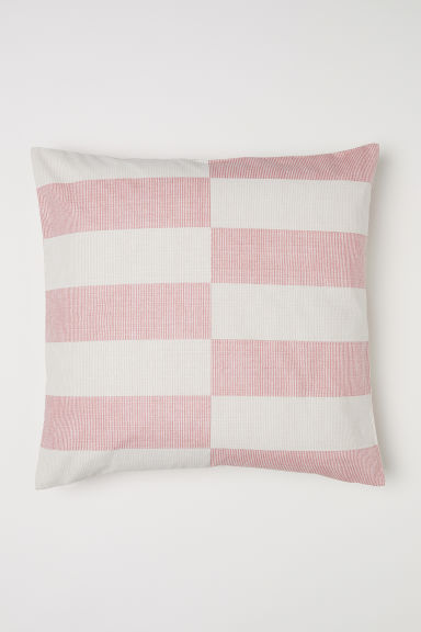 Patterned cushion cover - Dusky pink/Beige striped - Home All | H&M CN