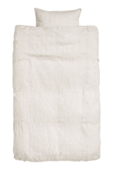 Washed linen duvet cover set - Natural white/Grey striped - Home All | H&M CN