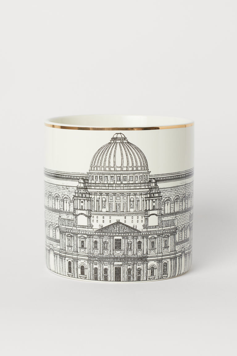 Cache-pot en porcelaine - Blanc/motif noir - Home All | H&M CA