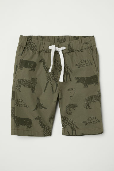 Cotton shorts - Dark khaki green/Animals - Kids | H&M GB