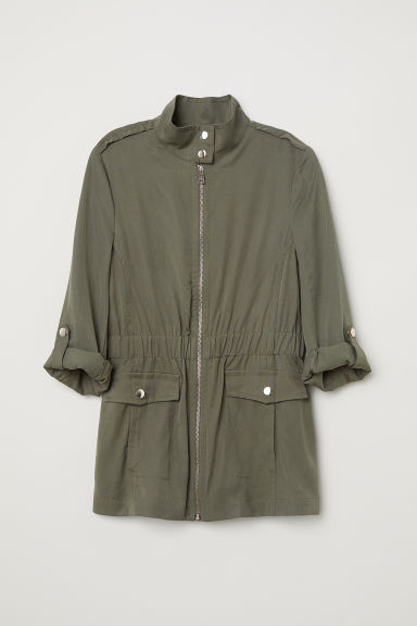 Lyocell cargo jacket - Khaki green - Ladies | H&M