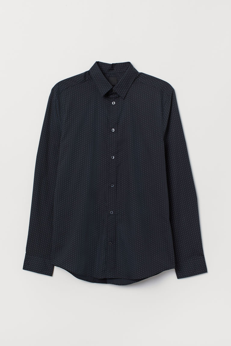 Easy-iron shirt Slim fit - Dark blue/White spotted - Men | H&M