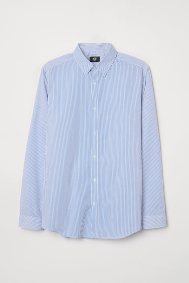 Easy-iron shirt Slim fit - Blue/White striped - Men | H&M