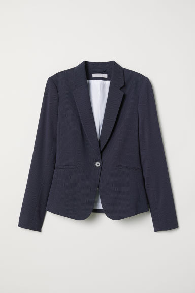 Fitted jacket - Dark blue/Spotted - Ladies | H&M CN