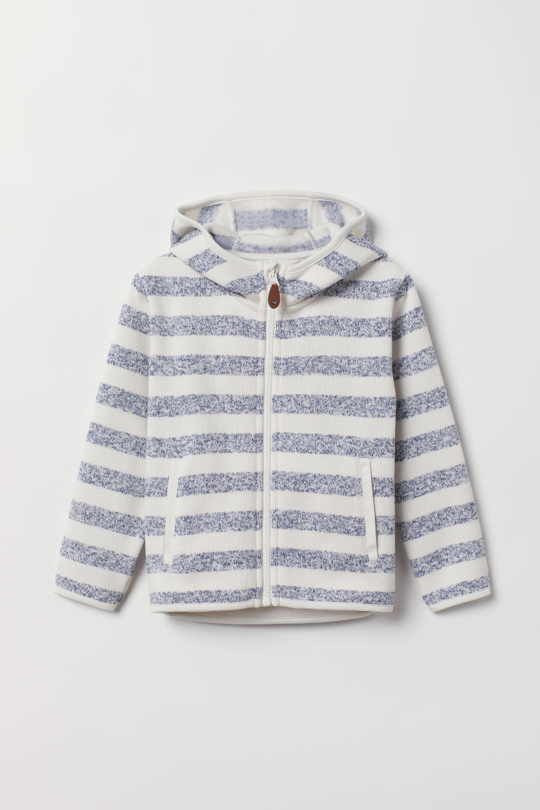 Knitted fleece jacket - White/Blue striped -  | H&M CN