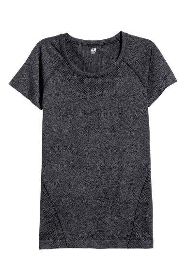 Seamless sports top - Dark grey -  | H&M GB